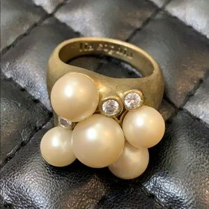 Lia Sophia Faux Pearl Cluster Bling Cocktail Ring